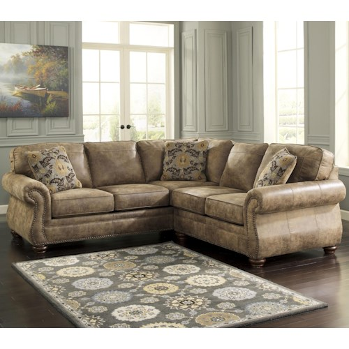 Signature Design By Ashley Larkinhurst Earth Traditional Roll Arm Corner Sectional With Laf