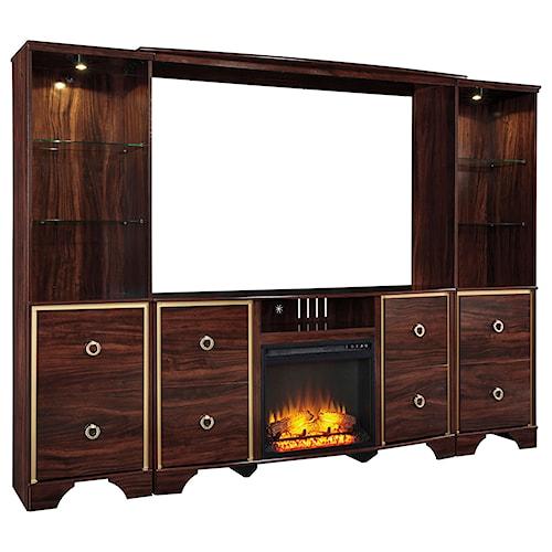 Signature Design By Ashley Lenmara Glam Entertainment Center With Fireplace Insert Wayside