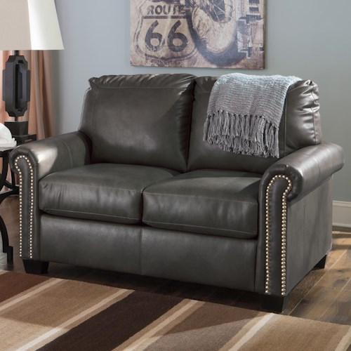 Signature Design By Ashley Lottie Durablend Transitional Bonded Leather Match 57 Twin Sofa