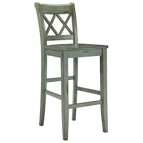 Signature Design By Ashley Mestler Antique Blue Green Tall Barstool Turk Furniture Bar