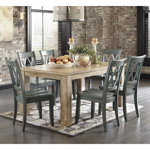 Signature Design By Ashley Mestler 7 Piece Table Set With Antique Blue Chairs Del Sol