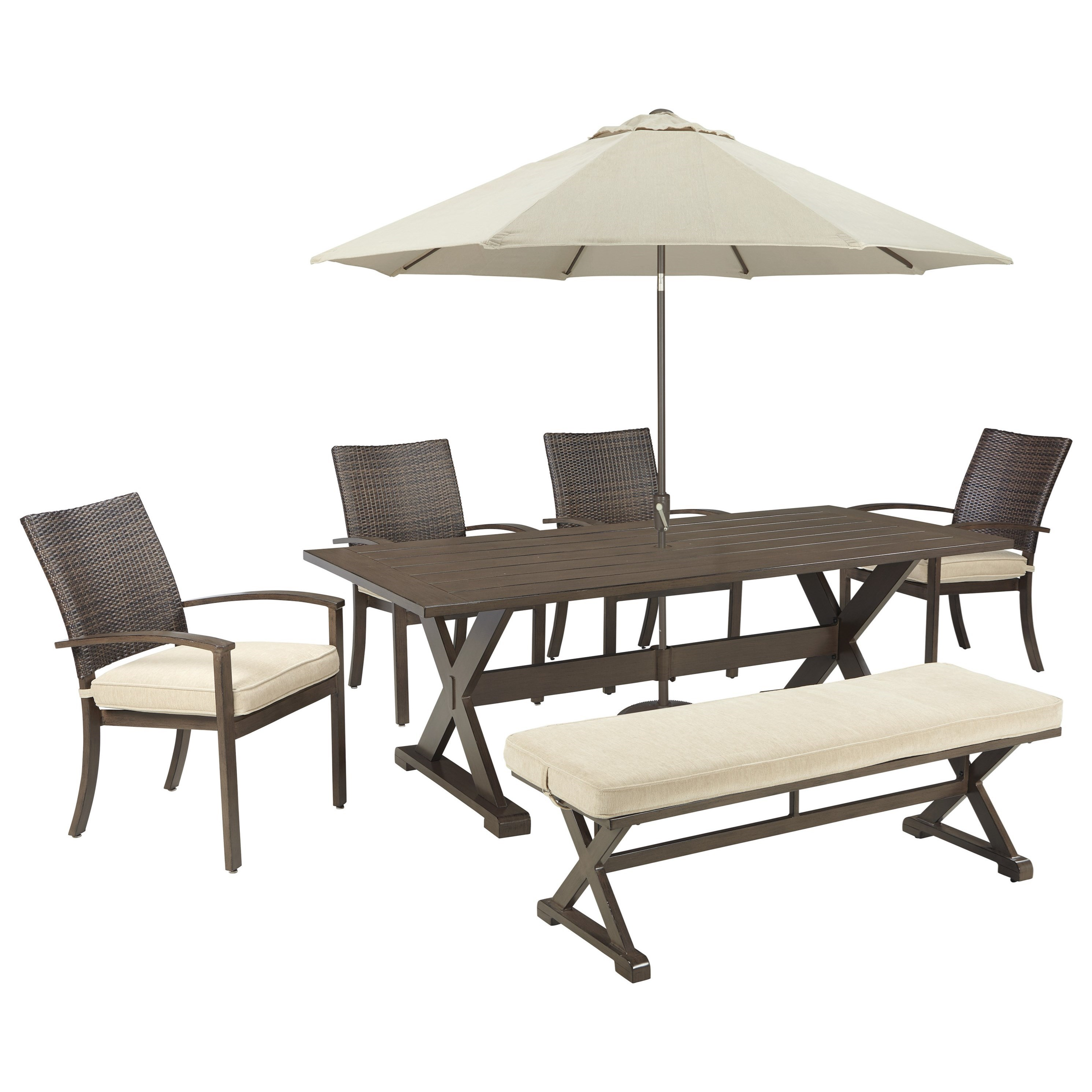 Ashley Signature Design Moresdale Outdoor Dining Set with Bench & Umbrell