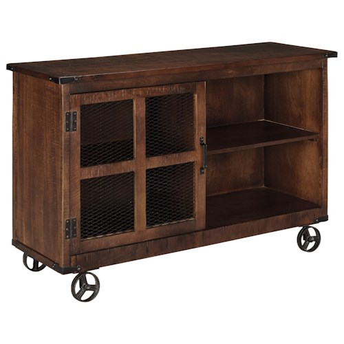Ashley signature design norlandon rustic industrial for Sofa table on wheels