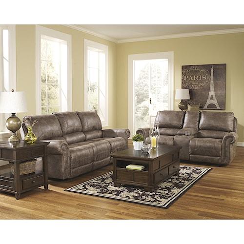 Signature Design By Ashley Furniture Oberson Gunsmoke Reclining Living Room Group Sam 39 S