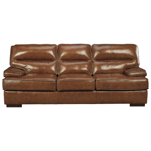 Signature Design By Ashley Palner Contemporary Leather Match Sofa Ivan Smith Furniture Sofas