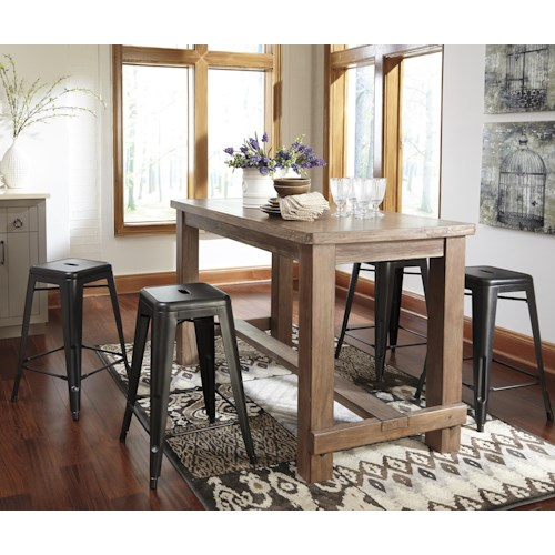 Signature Design By Ashley Pinnadel 5 Piece Counter Table