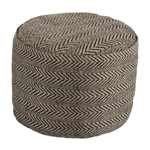 Signature design by ashley poufs a1000438 chevron natural pouf del sol furniture poufs - Design pouf ...