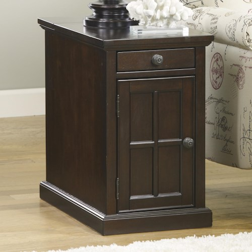 Signature Design By Ashley Laflorn Chair Side End Table With Power Outlets Pull Out Shelf