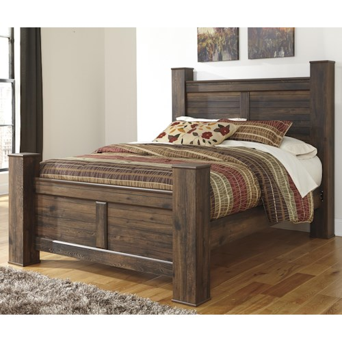 Signature Design By Ashley Quinden Rustic Queen Poster Bed