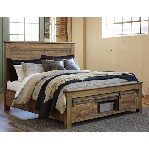 Signature Design By Ashley Sommerford Queen Panel Storage Bed With Barn Doors Wayside