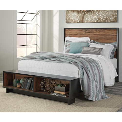 Signature Design By Ashley Stavani Queen Platform Bed W Storage Bench Footboard Wayside