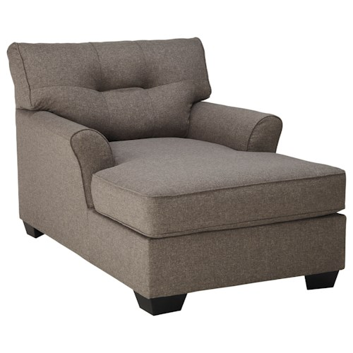 Signature design by ashley tibbee contemporary chaise with for 2 arm chaise lounge