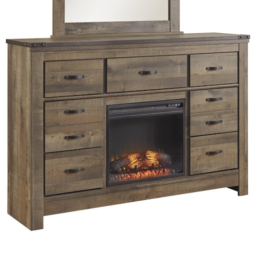 Signature Design by Ashley Trinell Dresser with Fireplace ...