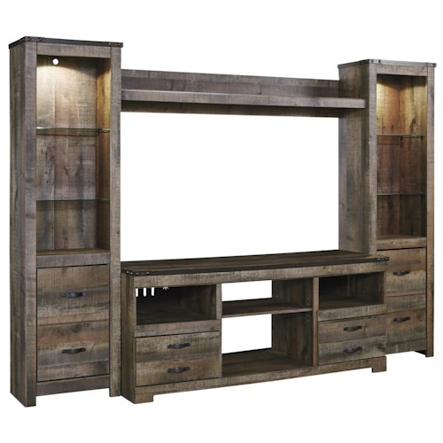 Signature Design By Ashley Trinell Rustic Large Tv Stand 2 Tall Piers W Bridge Wayside