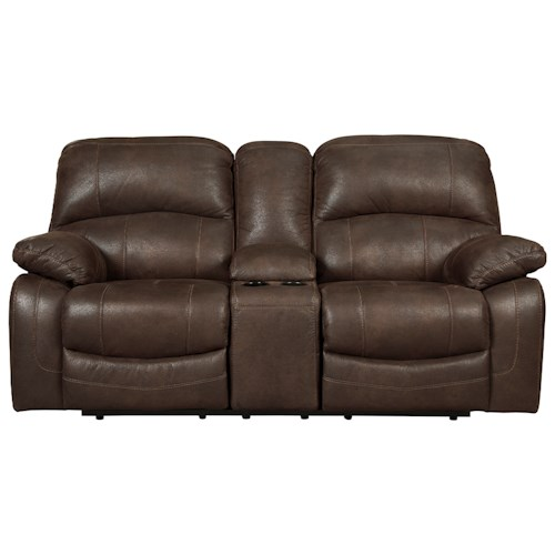 Signature Design By Ashley Zavier Glider Reclining Power Loveseat W Console In Brown Faux