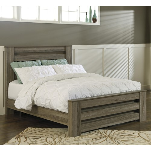 Signature Design By Ashley Zelen Queen Poster Bed In Warm Gray Rustic Finish Pilgrim Furniture