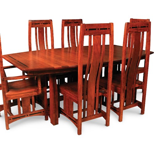 Trestle Table Amish Dining Room: Simply Amish Aspen Trestle Table W/ Ebony Inlays And