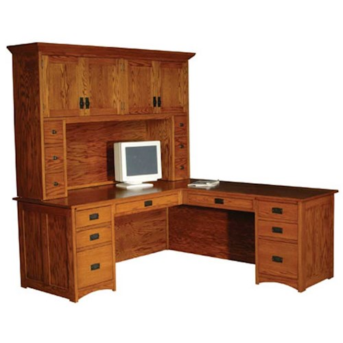 Simply amish prairie mission prairie mission l shape desk and hutch becker furniture world l - Mission style computer desk with hutch ...