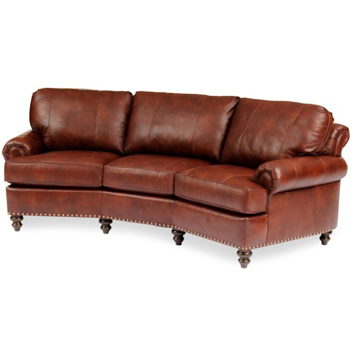 Smith Brothers 324 Leather Conversational Sofa With