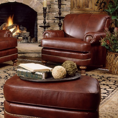 Smith Brothers 346 Traditional Styled Chair And Ottoman