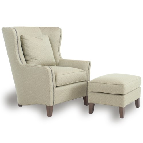 Smith brothers accent chairs and ottomans sb wingback for Chair ottoman