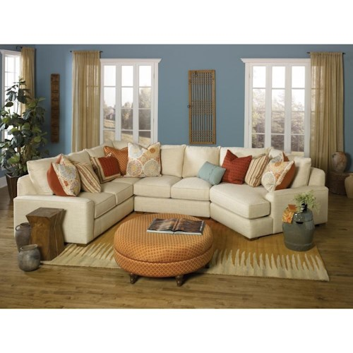 Smith Brothers Build Your Own 8000 Series Casual Sectional Sofa With Deco Arms Dunk Bright