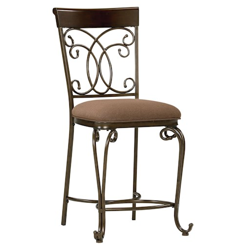 Standard furniture bombay upholstered counter height chair with ornate metal back dunk - Standard counter height stool ...