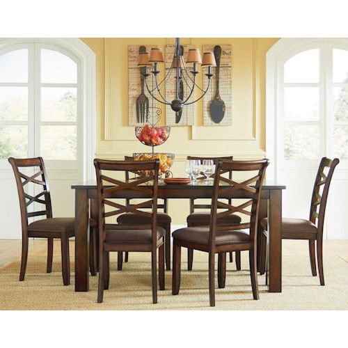 Standard furniture redondo casual transitional 7 piece for Casual dining room sets