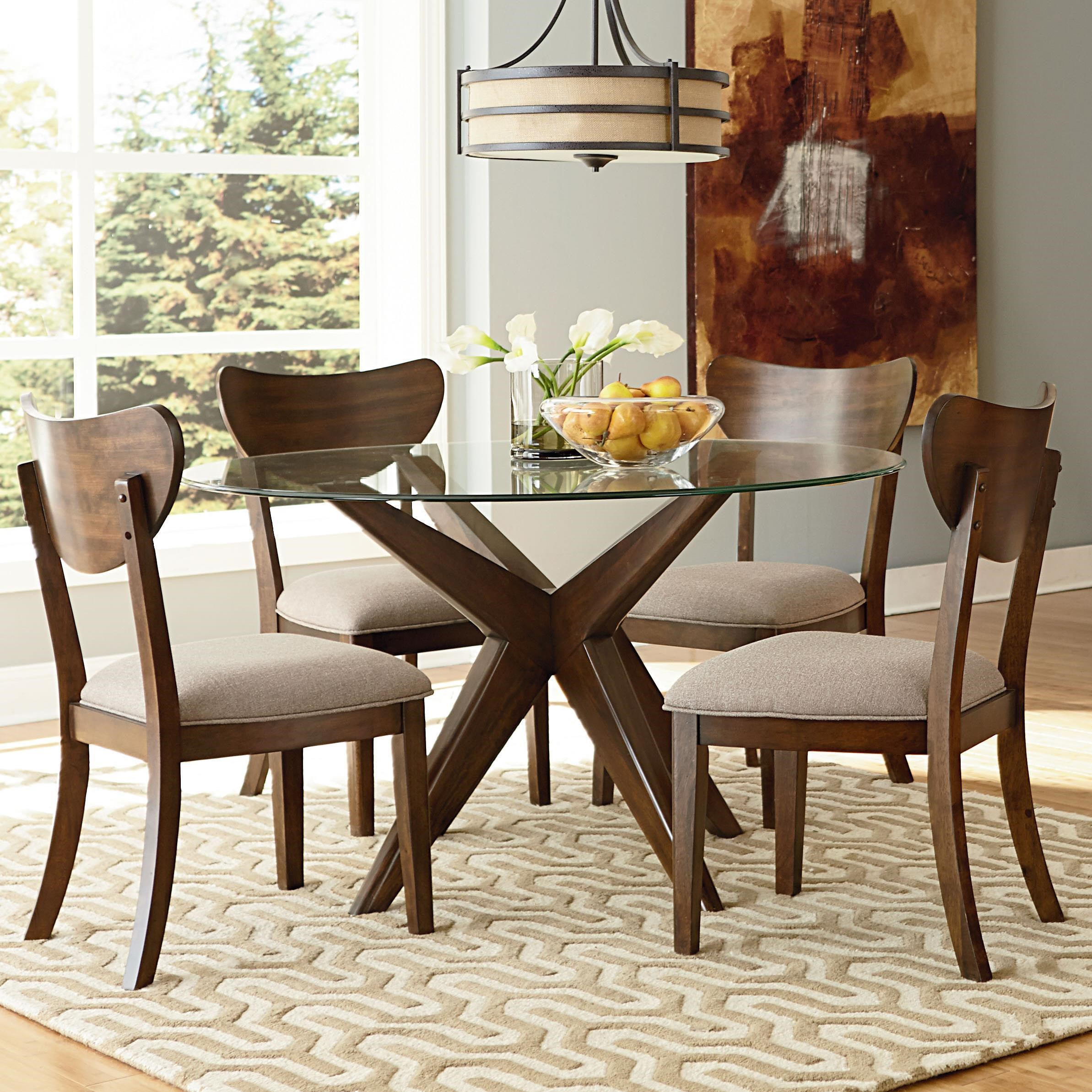 Dining 5 piece set standard furniture roxbury 48 quot round glass table