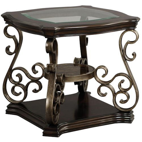 standard furniture seville square end table with glass top great american home store end table. Black Bedroom Furniture Sets. Home Design Ideas