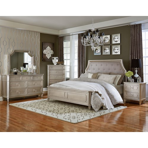 Standard furniture windsor silver queen bedroom group for Bedroom furniture groups