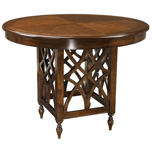 Woodmont Round Counter Height Table with Woodcarved Pedestal Base ...