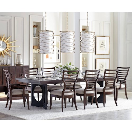 Stanley Furniture Virage 9 Piece Double Pedestal Dining