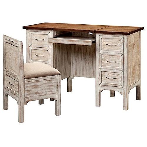 Stein World Desks Caitlyn Pedestal Desk Vanity And Stool Set Adcock Furnitu