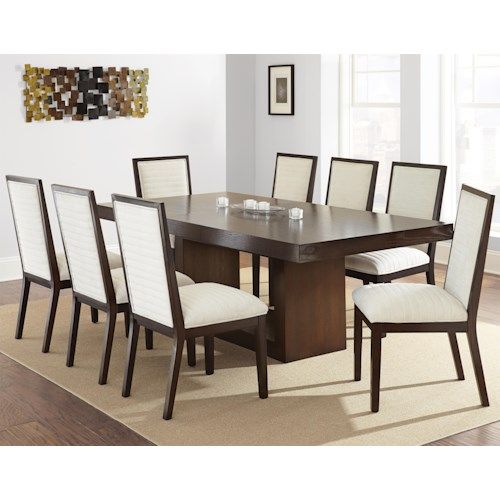 Steve Silver Antonio Contemporary Dining Set With Upholstered Side Chairs D