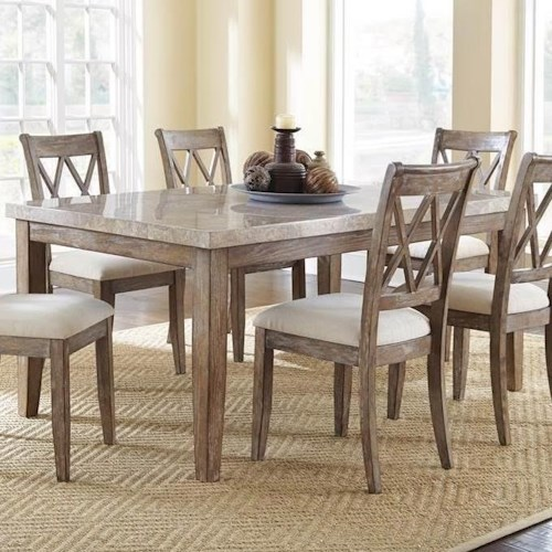 Franco White Marble Top Table With Washed Finish Belfort