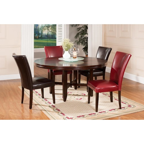 Star Hartford 5 Piece Contemporary 62 Round Table Parsons Chair Set Efo Furniture Outlet
