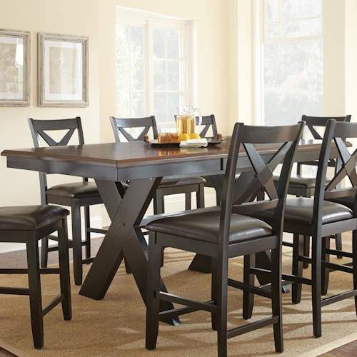 Star hanover two tone brown black counter table with x for T shaped dining room