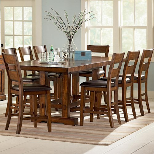 Vendor 3985 Zappa 9 Piece Counter Height Table Amp Chair Set