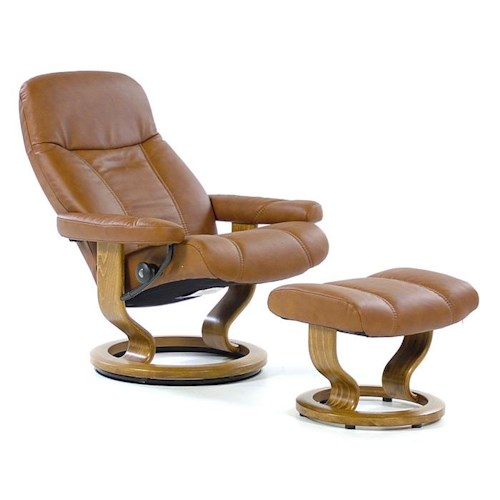 Stressless By Ekornes Stressless Recliners Consul Medium Recliner Ottoman Batick Caramel