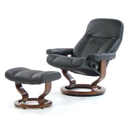 Stressless By Ekornes Stressless Recliners Consul Medium Recliner Ottoman Batick Black Walnut