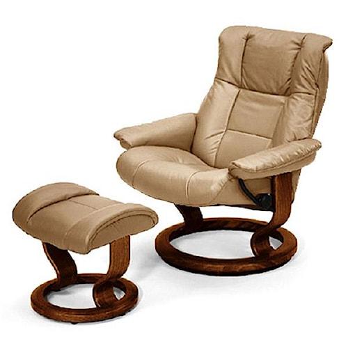 stressless by ekornes stressless recliners mayfair medium recliner ottoman paloma sand walnut. Black Bedroom Furniture Sets. Home Design Ideas