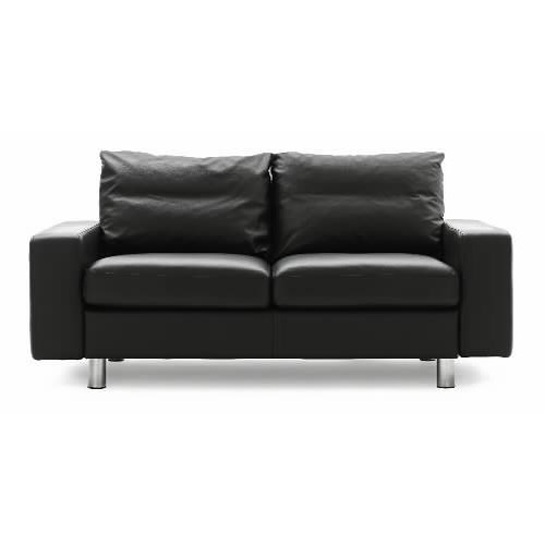 Stressless By Ekornes Stressless Sofas Leather Loveseat With Track Arms And Chromed Steel Feet
