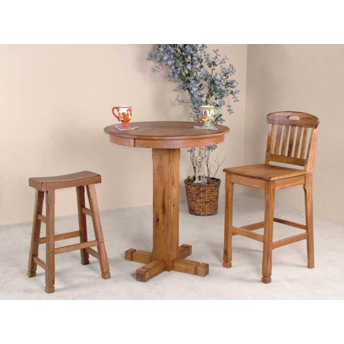 Sunny Designs Sedona Rustic Oak 3 Piece Bar Set Fashion Furniture Pub Table And Stool Sets