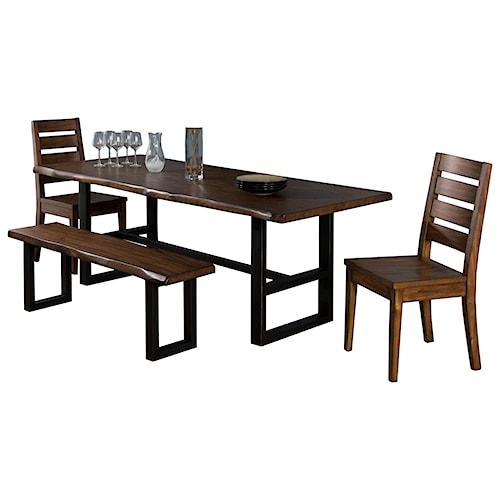 Sunny Designs Cresent Hill 4 Piece Live Edge Table Set