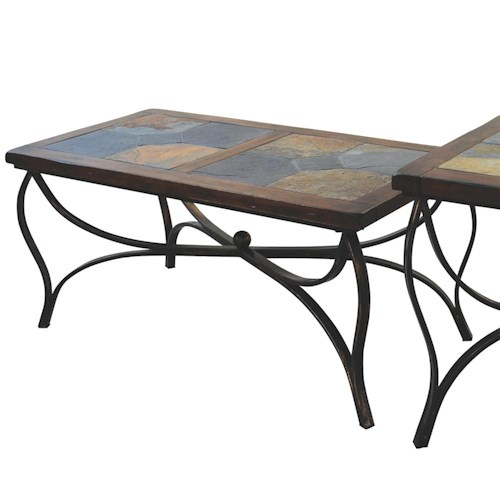 Sunny designs santa fe traditional natural slate top coffee table wayside furniture cocktail Slate top coffee tables