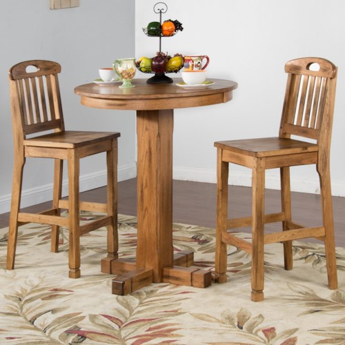 Sunny Designs Sedona Rustic Oak 3 Piece Bar Set With Slatback Stools Fashion Furniture Pub