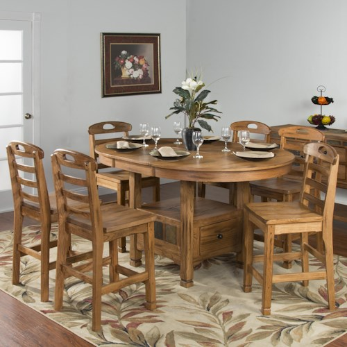 Sunny Designs Sedona Rustic Oak 7 Piece Dining Set Furniture And Appliancemart Pub Table And