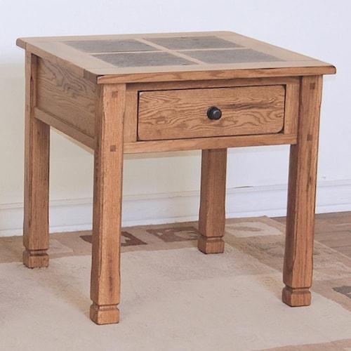 sunny designs sedona rustic oak end table with slate top