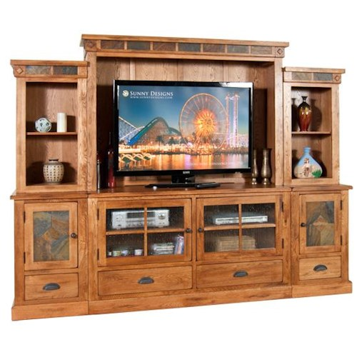 Sunny Designs Sedona 6pc Entertainment Wall Dunk Bright Furniture Wall Unit